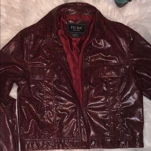 FU DA Jackets & Coats - FU DA faux snake skin leather jacket